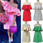Summer Women's Cocktail Evenning Mini Dress Off-shoulder Casual Ruffled Dress