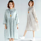 Latest Maternity Dress Floral Pleated Stand Collar Dresses Womens Loose Blouse