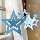 7pcs Paper Hollow Stars Card Charms Garland Home Decor Chritmas Hanging Banner