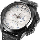 NEW Military Men's White Dial Black Leather Band Quartz Hours Wrist Watch