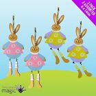*Pack Of 2 Wooden Easter Bunny Rabbit Hanging Legs Party Tree Decorations Gift*