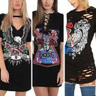 Casual Women Retro Vintage Rock Style Long T-Shirt Mini Dress Party Holiday Tops