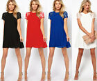 Women's Summer Short Sleeve Chiffon Lace Cocktail Dress Evening Party Mini Gown