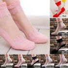 1Pair Lady Girl Transparent Crystal Lace Elastic Anti-slip Short Terry Socks