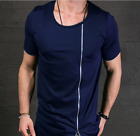 Men's fashion Slim oblique asymmetrical zipper T-shirt tops Personalized Tee
