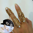 Women Fashion Hollow Rings Set Rhinestone Big Rings With Chains