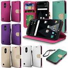 For LG Fortune M153 Leather Premium Wallet Case Pouch Flip Phone Cover