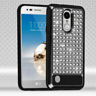 For LG Fortune Hybrid IMPACT Diamond Layered Case Phone Cover + Screen Protector