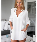 lady's fashion casual V-neck long-sleeved T-shirt solid color chiffon blouse