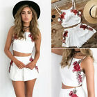 Casual Summer 2PCS Set Flower Crop Top Pants Bodycon Outfit Women Party Clubwear