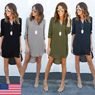 Women's Blouse Chiffon Long Sleeve Ladies T Shirt Loose Long Tops Dress Top US