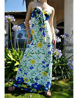 White Floral Blue Burst Vine Summer Long Maxi Dress S/M,M/L