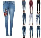 Damen Jeans Hoher Bund Bestickt Denim Skinny Fit Jeans Stretch