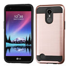 For LG K20 Plus Brushed Metal HYBRID Rubber Case Phone Cover +Screen Protector