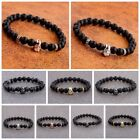 Charm Men's Star Wars Darth Vader CZ Beaded Bracelets 8mm Onyx Lava Beads $0.99 USD on eBay