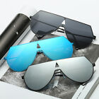 Vintage Women Men Flat Lens Mirrored Metal Frame Glasses Oversized Sunglasses