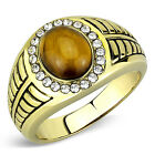 Synthetic Tiger Eye And Clear Crystal Stones Mens Gold Plated Ring