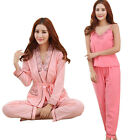 New Women Pajamas Lacework Strappy Tops & Pants & Camisole Set Comfy Sleepwear