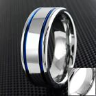 8mm Tungsten Men's Ring Double Blue Stripe Wedding Band - Engravable