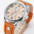 Fashion Men's Leather Stainless Steel Sport Waterproof Analog Quartz Wrist Watch
