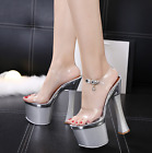Womens Transparent High Heel Chunky Sandals Platform Shoes Open Toe Nightclub