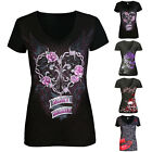 Fashion Women Skull Print V Neck Summer Short Sleeve T-Shirt Casual Tops Blouse