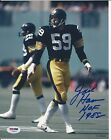 JACK HAM Signed Pittsbrugh STEELERS 8x10 PHOTO with PSA COA & HOF Inscription