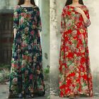 Zanzea Womens Cotton Loose Long Sleeve Floral Maxi Long Dress Baggy Plus Kaftan