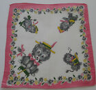 Vintage Childs White Batiste Hankie Lions Wagon Scooter Ball Songbook Hat 1950s
