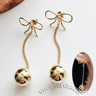 Made in Korea Face Slimming Ball Drop Gold Bow elegant Stud earrings Unique Cute