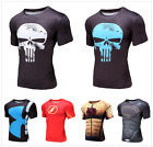 Mans 3D The Punisher Flash Superhero Compression Short-Sleeve T-Shirts Jerseys