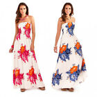 Pistachio Tropical Floral Print White Pink Blue Bandeau Maxi Dress UK 8-22