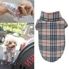 Pet Dog Puppy Plaid T Shirt Lapel Coat Cat Jacket Clothes Apparel Costume XS -XL