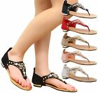 Ladies Womens Summer Diamante Slip On T-Bar Stretch Toe Post Sandals Shoes Size
