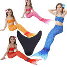 3 pcs Kids Mermaid Tail Swimsuit With Monofin Swimmable Tails Fins Flipper