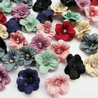8/24/120pcs Fabric Ribbon Flowers Bows Appliques Craft  Wedding Doll Dec A0677