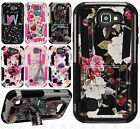 For LG K3 LS450 HYBRID KICK STAND Rubber Case Cover Accessory +Screen Protector