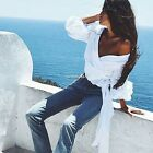New Fashion Women Sexy V-Neck Off Shoulder Three Quarter Sleeve Solid Cross N4U8