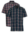 2 Pack Mens Champion Brighton Country Style Casual Check Short Sleeved Shirt