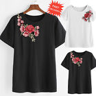 Women Summer Rose Embroidered T-shirt Casual Loose Blouse Short Sleeve Shirt Top