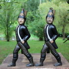 Old Hessian Soldier Cast Iron Andirons Fireplace Wood Fire Home Decor