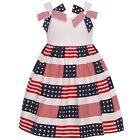 Bonnie Jean Little Girls Blue Red White American Flag Patriotic Dress 2T-6X
