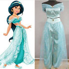 US SHIP! Women Anime Aladdin Princess Jasmine Blue Dress Cosplay Costume Suits
