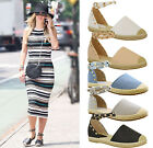 New Ladies Womens Flats Studded Espadrilles Ankle Strap Sandals Pumps Shoes Size