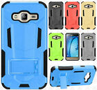 For Samsung Galaxy j3 HYBRID KICK STAND Rubber Cover Accessory +Screen Protector