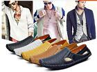 New Mens Driving Slip on Loafers Leather Shoes Summer Breathable Mesh Shoes
