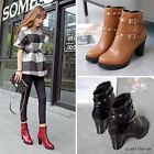 Women Round Toe Block Heels Rivet Buckle Ankle Boots Stylish Classic Girls Shoes