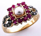 9ct Solid Gold Vintage Peral, Ruby & Diamond Ring R299 Custom