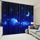 3D Curtain 2 Panels Set Readymade Eyelet Ring Top--Night Sky Star Scenic Style