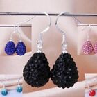 SHAMBALLA  SPARKLY CRYSTAL TEARDROP DROP EARRINGS-15mmx12mm- 13 COLOURS -925 S/P